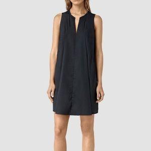 AllSaints Dark Navy Satin Poly Bea Dress